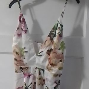 New Floral Print  Sliky Strappy Jumpsuit